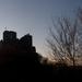 Hollókői vár naplementében februárban